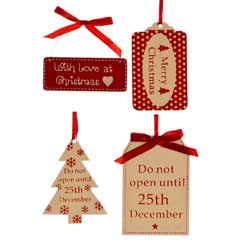 Christmas Baubles Sign Decorations - Set of 4