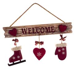 Christmas Wooden Welcome Sign - 31cm
