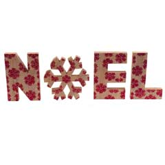 Christmas Wooden Noel Red Glitter Letters - 30cm