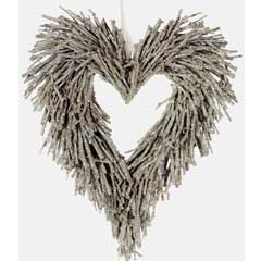 Christmas Frosted Birch Hanging Heart - 20cm