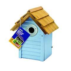 Gardman FSC Pine Beach Hut Nest Box - Light Blue
