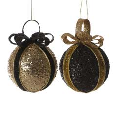 Christmas Baubles Black/Gold Glitter Ball with Bow - 8cm