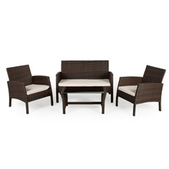 Greenfingers Carolina Rattan 2 Chair & Sofa 80cm Rectangular Lounge Set