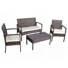 Greenfingers Jersey Rattan Sofa & 2 Chairs 85cm Rectangular Lounge Set