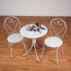 Greenfingers Ornate Steel 2 Armchairs 60cm Circular Bistro Set