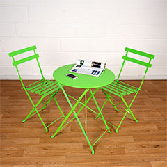 Greenfingers Steel 2 Folding Chairs 60cm Circular Bistro Set