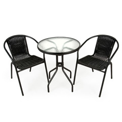 Greenfingers Rattan 2 Armchair 60cm Round Table Bistro Set