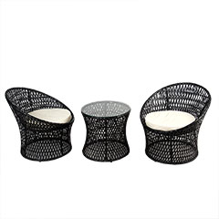 Greenfingers Lima Rattan 2 Chair 50cm Round Bistro Set