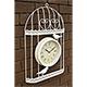 Verdigris Bird Cage Design Garden Clock Cream - 35cm high