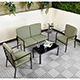 Ellister Sorrento Steel 2 Armchair and 2 Seater Sofa Coffee Table Set